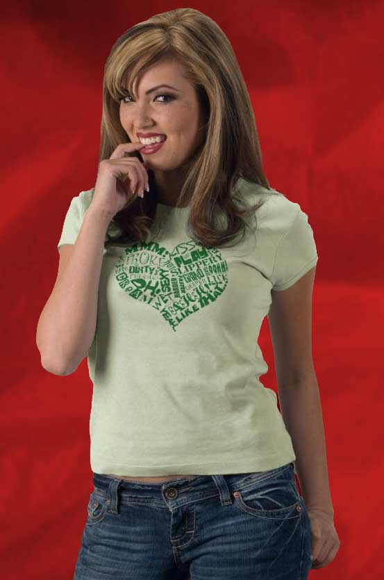 Sexy Heart Ladies Baby Doll Tee for only $22.95 in yummy lime green!