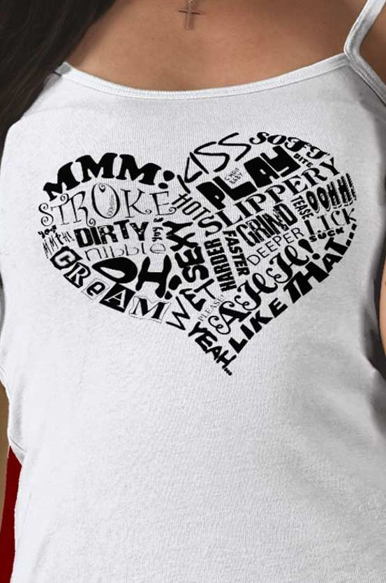 Close up of the Sexy Heart design on our Spaghetti Tank Tees for only $20.95