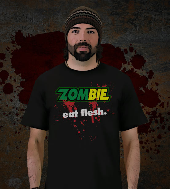 We have our Zombie Eat Flesh Tees in light and dark colors