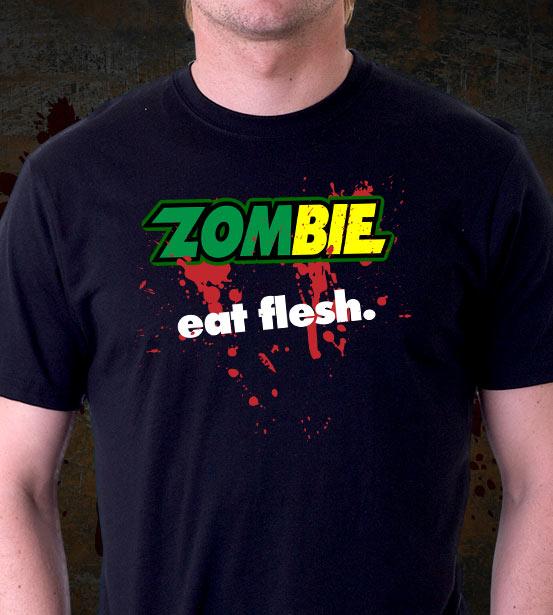 Zombie EAT FLESH t-shirts