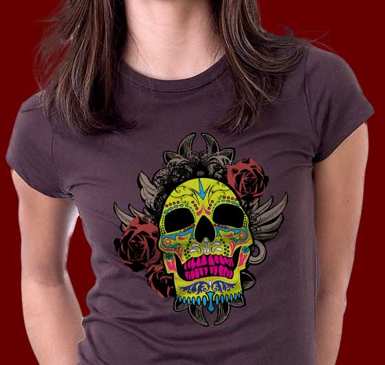 Sugar Skull Art Tee Shirt